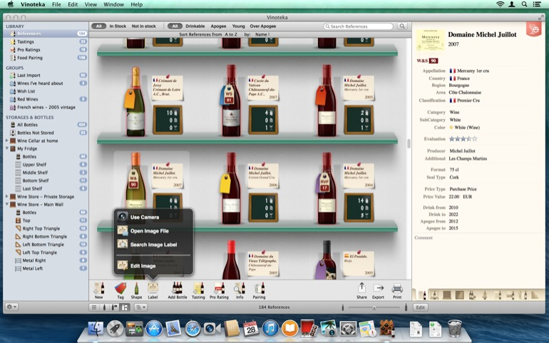 The Image Editor of Vinoteka Mac allows you work on the labels you apply to references