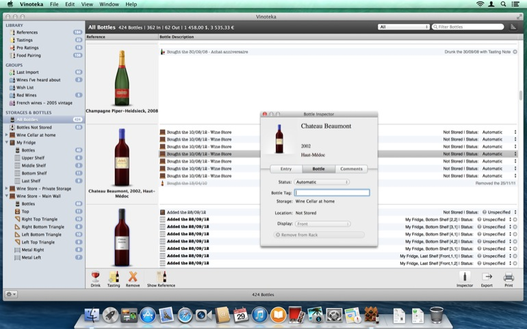 The Bottle Inspector helps you keep the info of each bottle, independently from the related reference