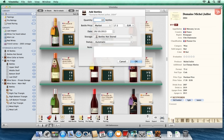 Select a reference and <b>Add Bottles</b>, providing the purchase details and the quantity.